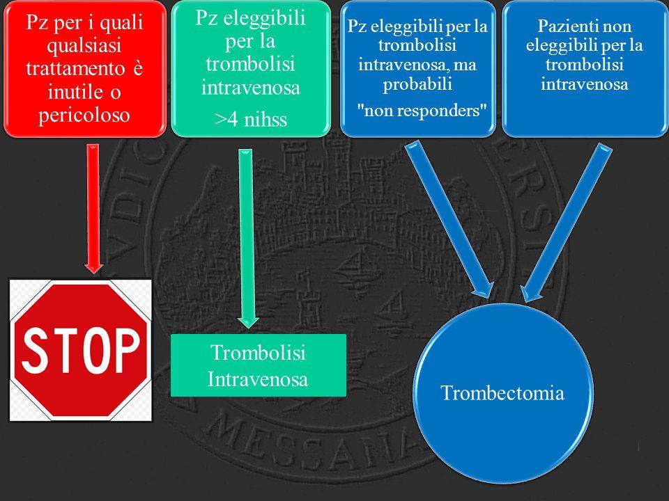Trombectomia Pz per i quali qualsiasi trattamento è inutile o pericoloso Pz eleggibili per la trombolisi intravenosa >4 nihss Pz eleggibili per la tro