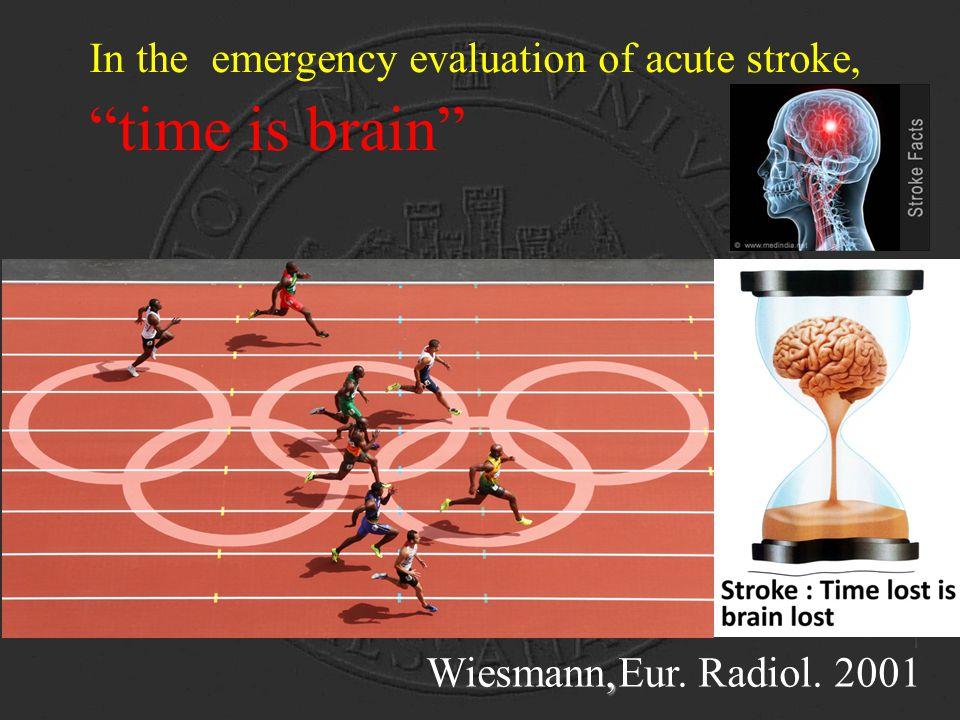 """In the emergency evaluation of acute stroke, """"time is brain"""", Wiesmann,Eur. Radiol. 2001"""