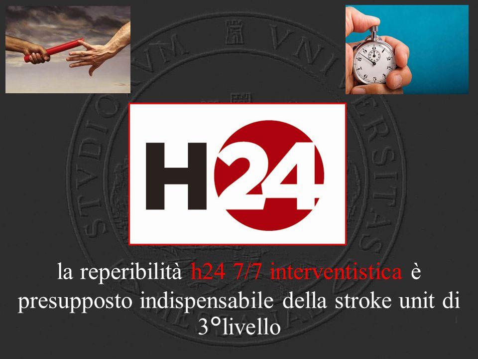 H24 la reperibilità h24 7/7 interventistica è presupposto indispensabile della stroke unit di 3°livello