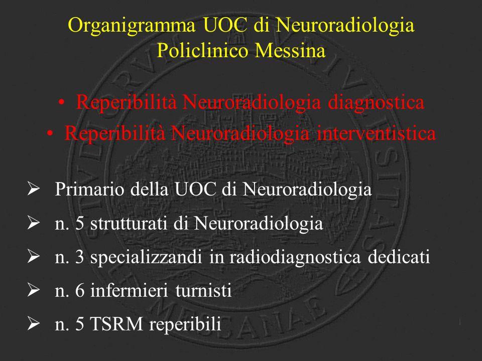 Organigramma UOC di Neuroradiologia Policlinico Messina Reperibilità Neuroradiologia diagnostica Reperibilità Neuroradiologia interventistica  Primar