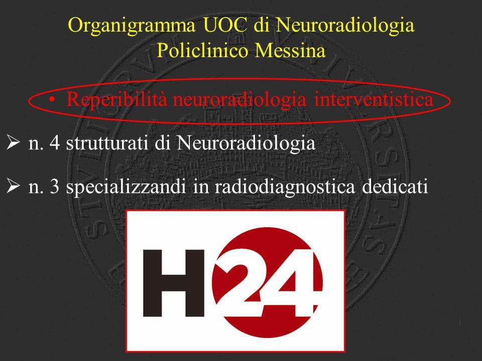 Reperibilità neuroradiologia interventistica  n. 4 strutturati di Neuroradiologia  n. 3 specializzandi in radiodiagnostica dedicati Organigramma UOC