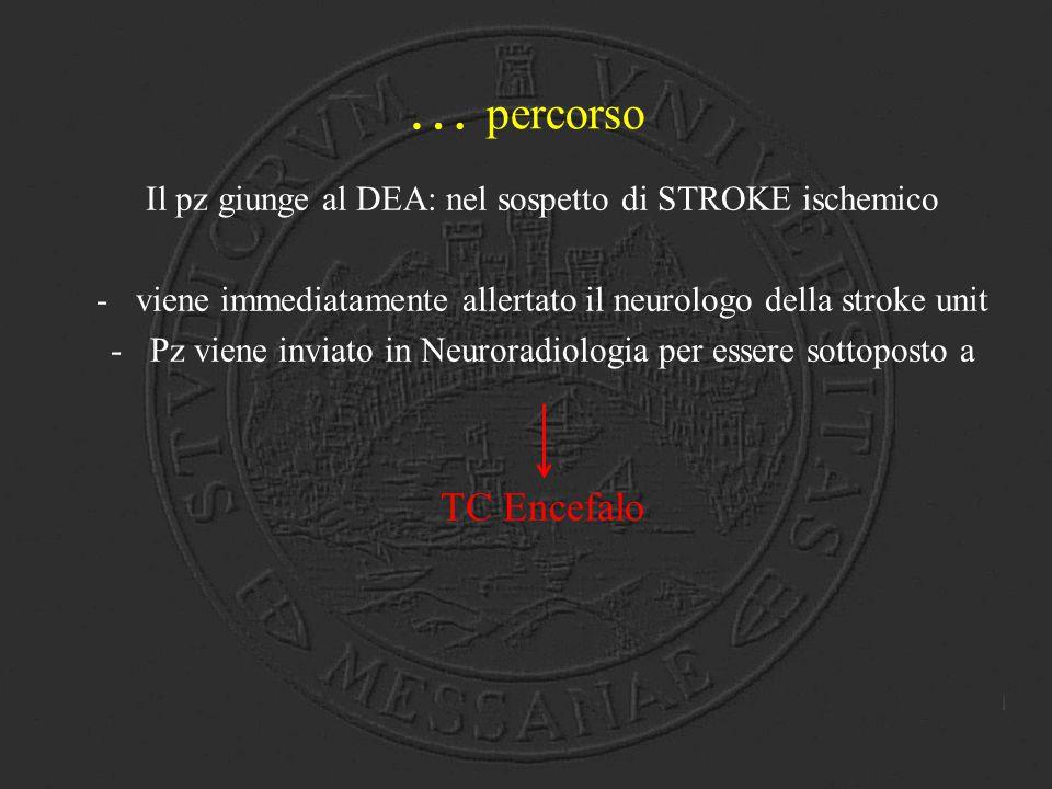 … percorso Il pz giunge al DEA: nel sospetto di STROKE ischemico -viene immediatamente allertato il neurologo della stroke unit -Pz viene inviato in N