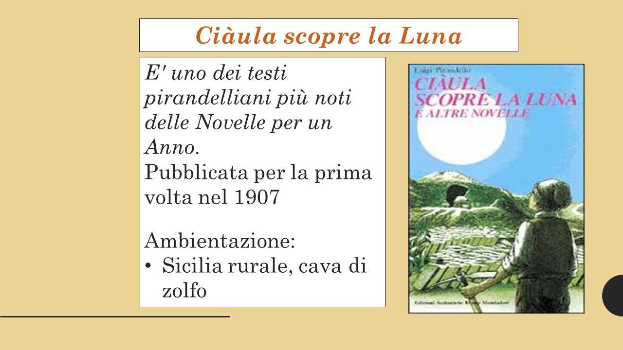 Ciàula scopre la Luna E uno dei testi pirandelliani più noti delle Novelle per un Anno.