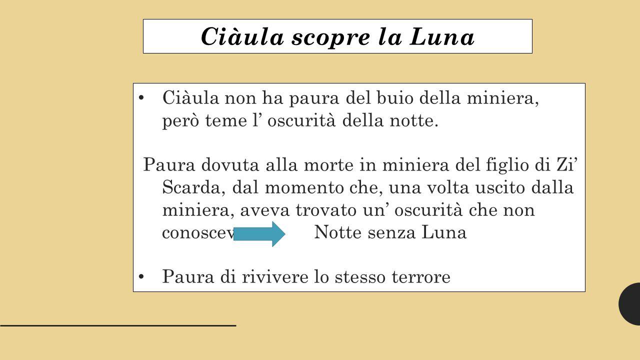 Ciàula scopre la Luna Ciàula non ha paura del buio della miniera, però teme l' oscurità della notte.