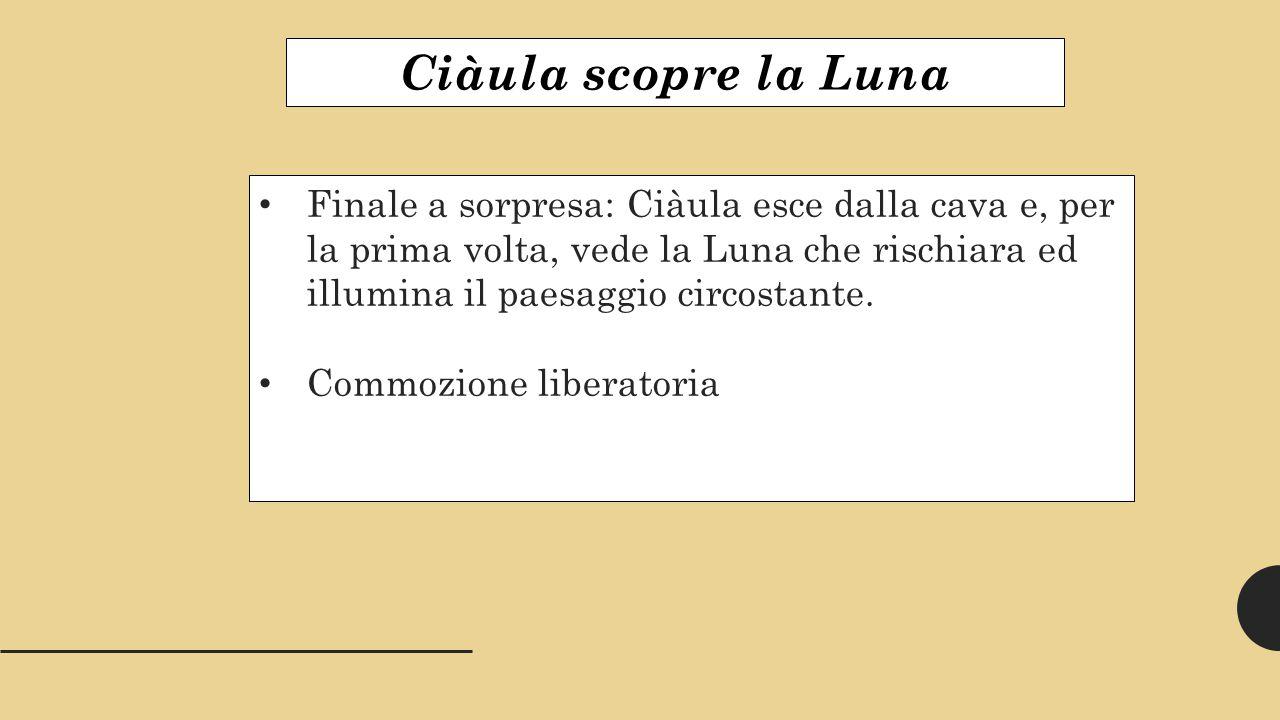Ciàula scopre la Luna Finale a sorpresa: Ciàula esce dalla cava e, per la prima volta, vede la Luna che rischiara ed illumina il paesaggio circostante.