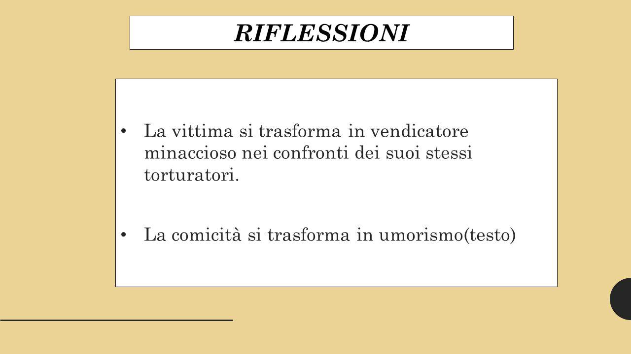 RIFLESSIONI La vittima si trasforma in vendicatore minaccioso nei confronti dei suoi stessi torturatori.