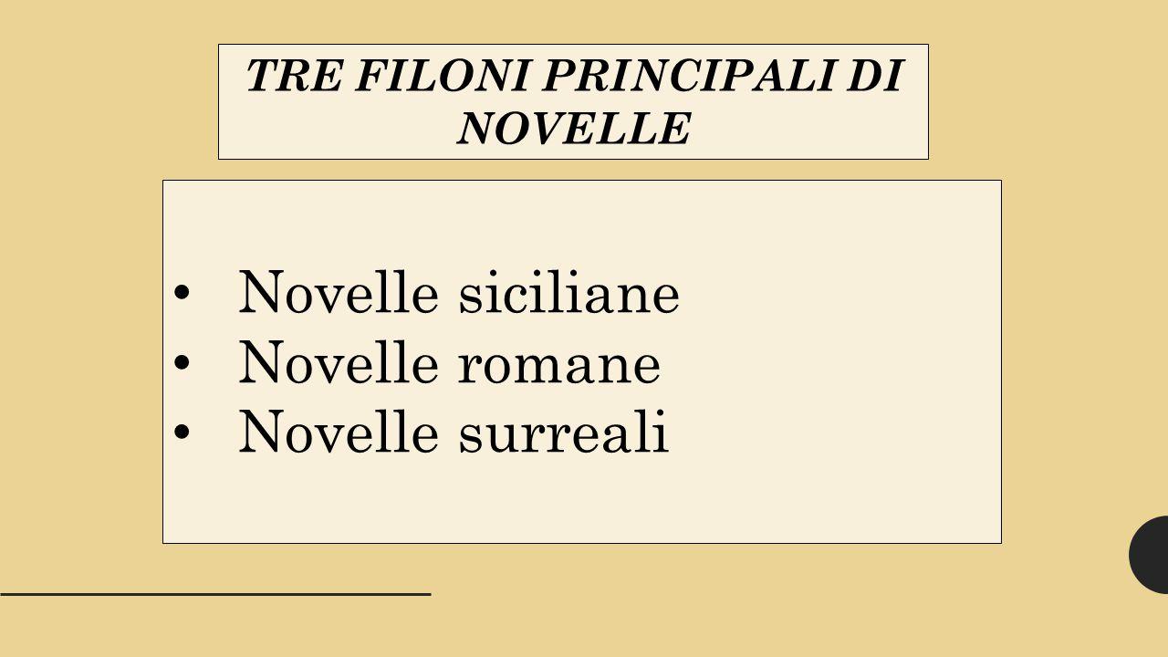 TRE FILONI PRINCIPALI DI NOVELLE Novelle siciliane Novelle romane Novelle surreali