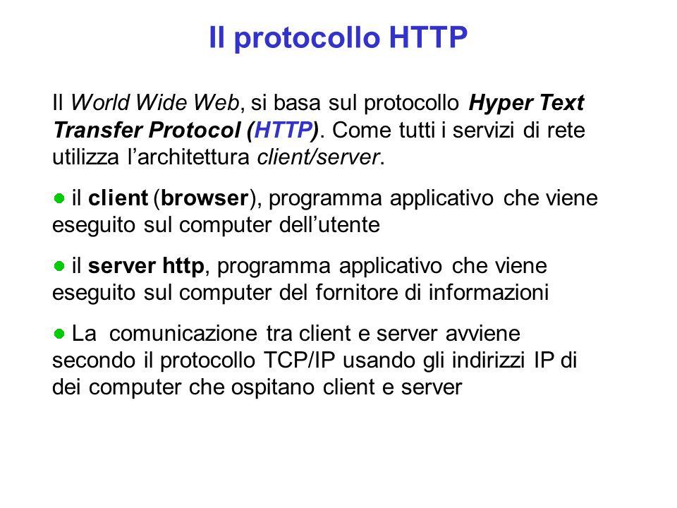 Il protocollo HTTP Il World Wide Web, si basa sul protocollo Hyper Text Transfer Protocol (HTTP). Come tutti i servizi di rete utilizza l'architettura