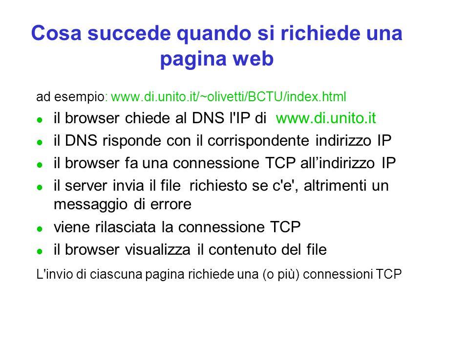 Cosa succede quando si richiede una pagina web ad esempio: www.di.unito.it/~olivetti/BCTU/index.html l il browser chiede al DNS l'IP di www.di.unito.i