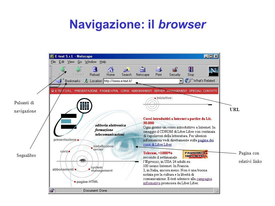Navigazione: il browser URL Pulsanti di navigazione Segnalibro Pagina con relativi links