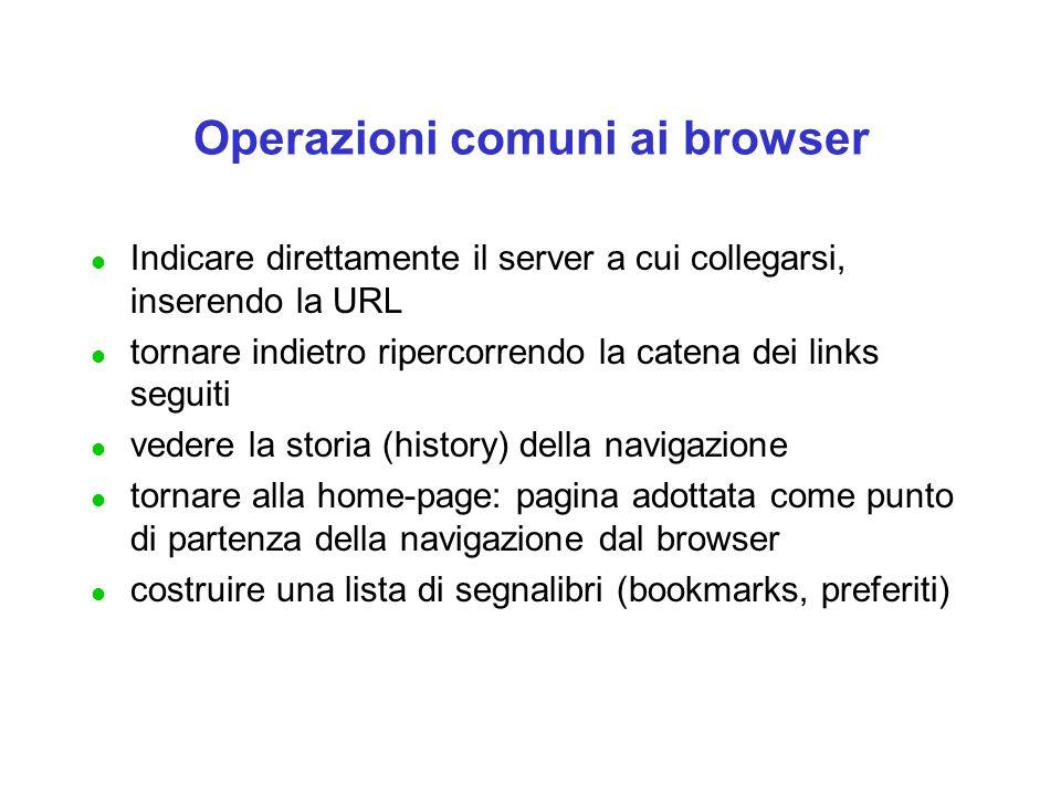 Operazioni comuni ai browser l Indicare direttamente il server a cui collegarsi, inserendo la URL l tornare indietro ripercorrendo la catena dei links