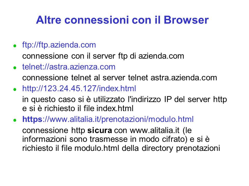 Altre connessioni con il Browser l ftp://ftp.azienda.com connessione con il server ftp di azienda.com l telnet://astra.azienza.com connessione telnet