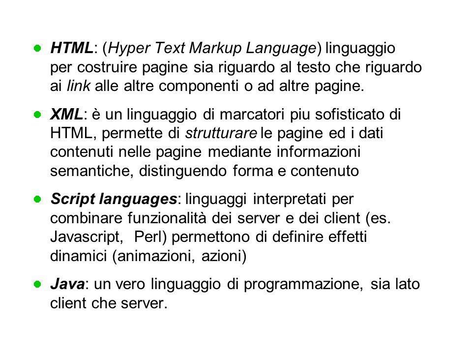 HTML: (Hyper Text Markup Language) linguaggio per costruire pagine sia riguardo al testo che riguardo ai link alle altre componenti o ad altre pagine.