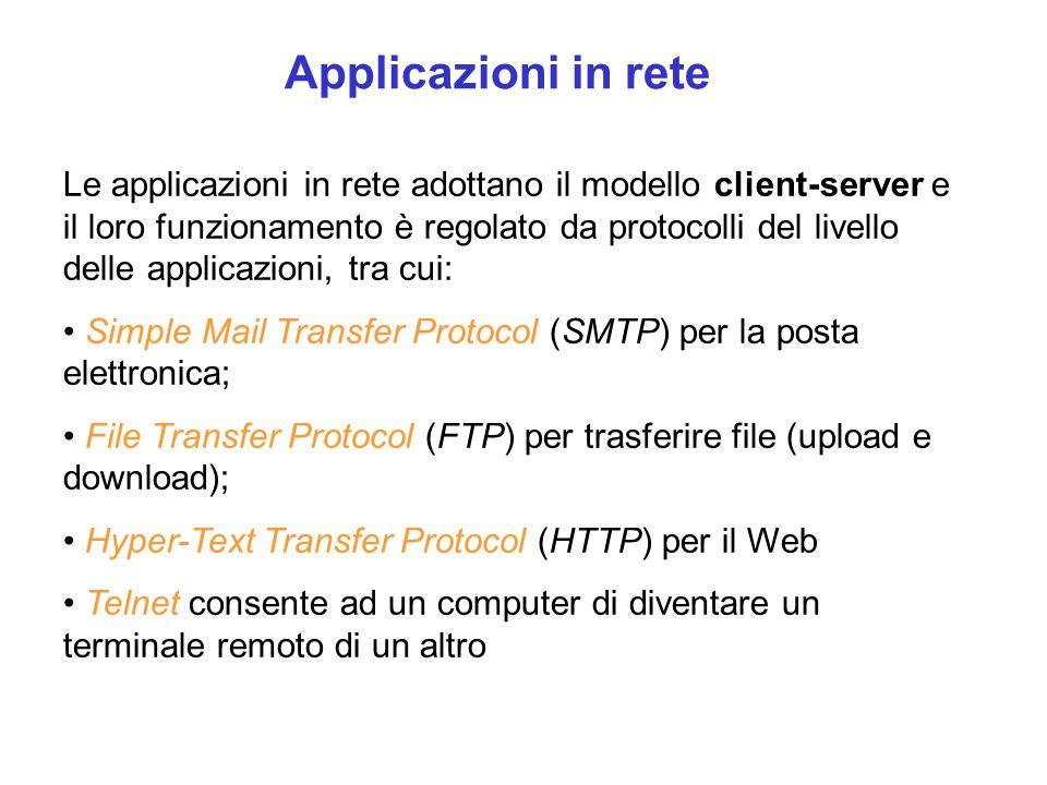 Applicazioni in rete Le applicazioni in rete adottano il modello client-server e il loro funzionamento è regolato da protocolli del livello delle appl