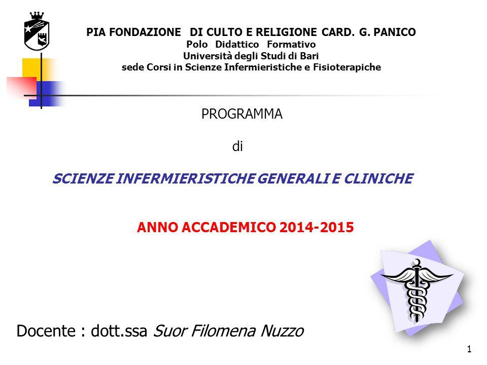 Docente : dott.ssa Suor Filomena Nuzzo PROGRAMMA di SCIENZE INFERMIERISTICHE GENERALI E CLINICHE ANNO ACCADEMICO 2014-2015 PIA FONDAZIONE DI CULTO E R