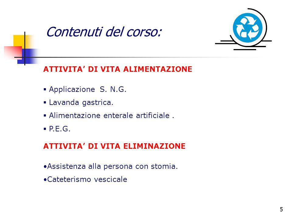 Contenuti del corso: ATTIVITA' DI VITA ALIMENTAZIONE  Applicazione S. N.G.  Lavanda gastrica.  Alimentazione enterale artificiale.  P.E.G. ATTIVIT