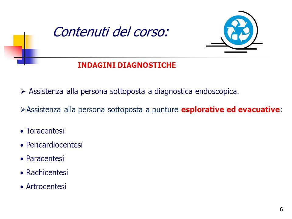 INDAGINI DIAGNOSTICHE Contenuti del corso:  Assistenza alla persona sottoposta a diagnostica endoscopica.  Assistenza alla persona sottoposta a punt