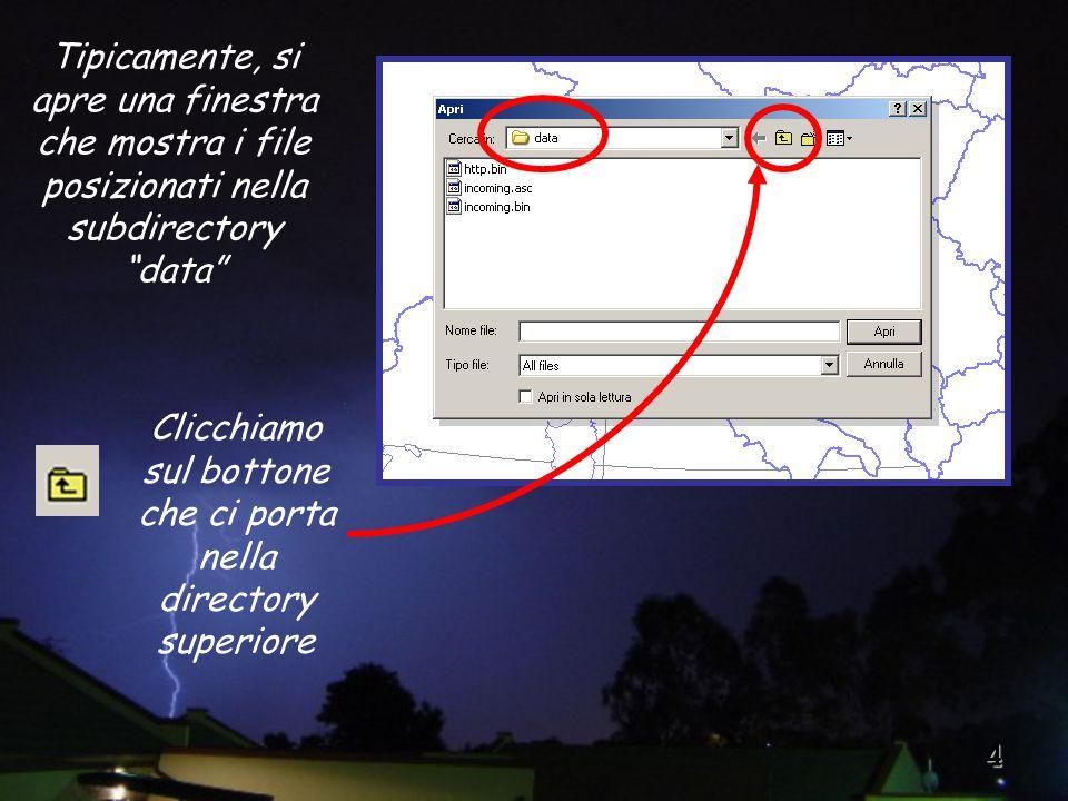 4 Clicchiamo sul bottone che ci porta nella directory superiore Tipicamente, si apre una finestra che mostra i file posizionati nella subdirectory data