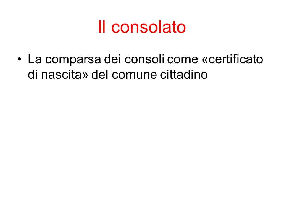 Il consolato La comparsa dei consoli come «certificato di nascita» del comune cittadino