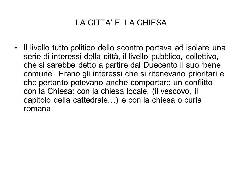 LA CITTA' E LA CHIESA Il livello tutto politico dello scontro portava ad isolare una serie di interessi della città, il livello pubblico, collettivo,