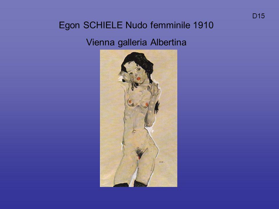 Egon SCHIELE Nudo femminile 1910 Vienna galleria Albertina D15