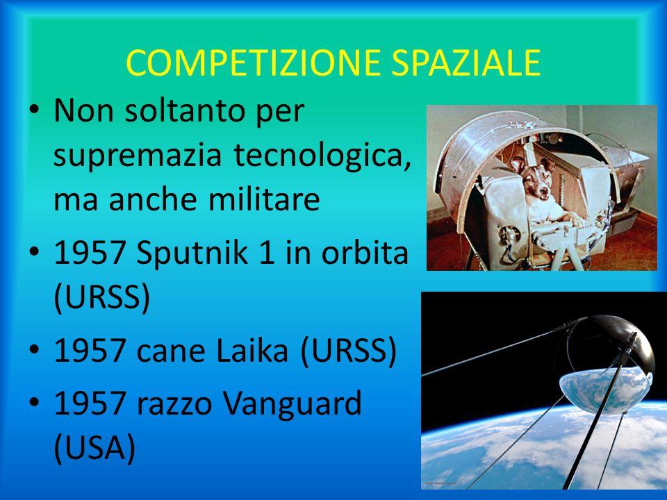 COMPETIZIONE SPAZIALE Non soltanto per supremazia tecnologica, ma anche militare 1957 Sputnik 1 in orbita (URSS) 1957 cane Laika (URSS) 1957 razzo Van