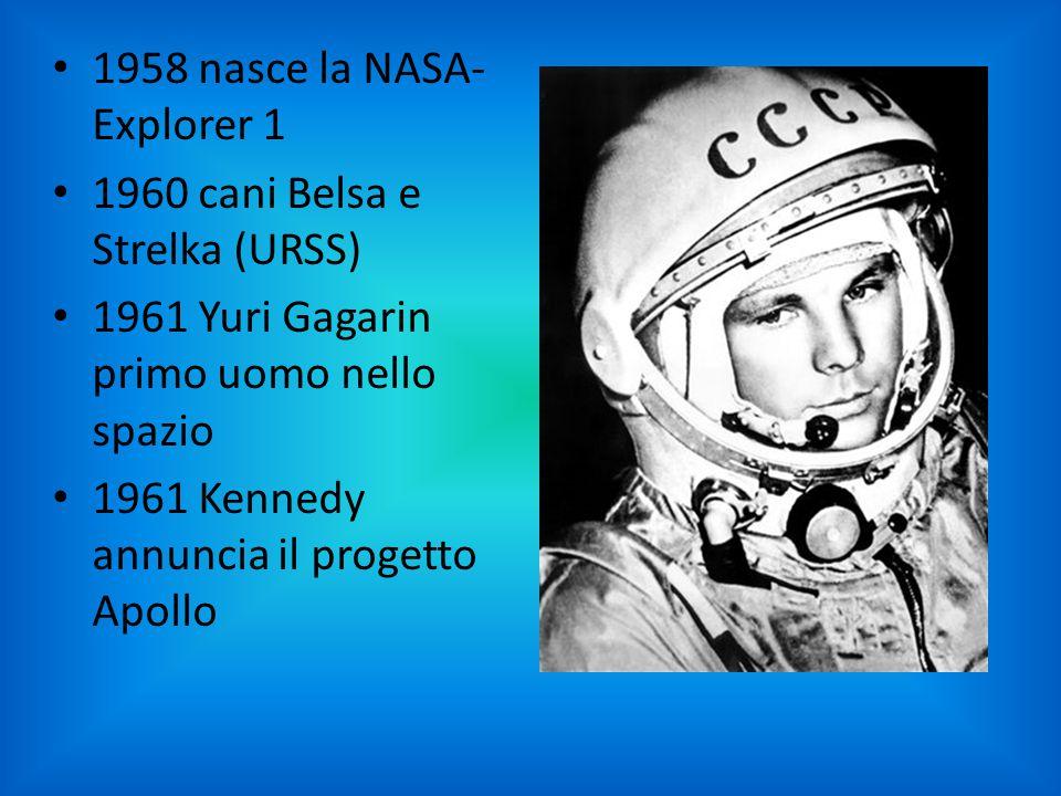 1958 nasce la NASA- Explorer 1 1960 cani Belsa e Strelka (URSS) 1961 Yuri Gagarin primo uomo nello spazio 1961 Kennedy annuncia il progetto Apollo