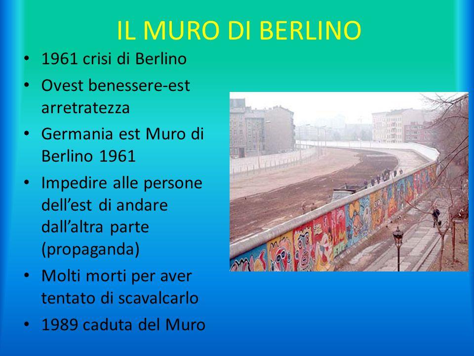 IL MURO DI BERLINO 1961 crisi di Berlino Ovest benessere-est arretratezza Germania est Muro di Berlino 1961 Impedire alle persone dell'est di andare d