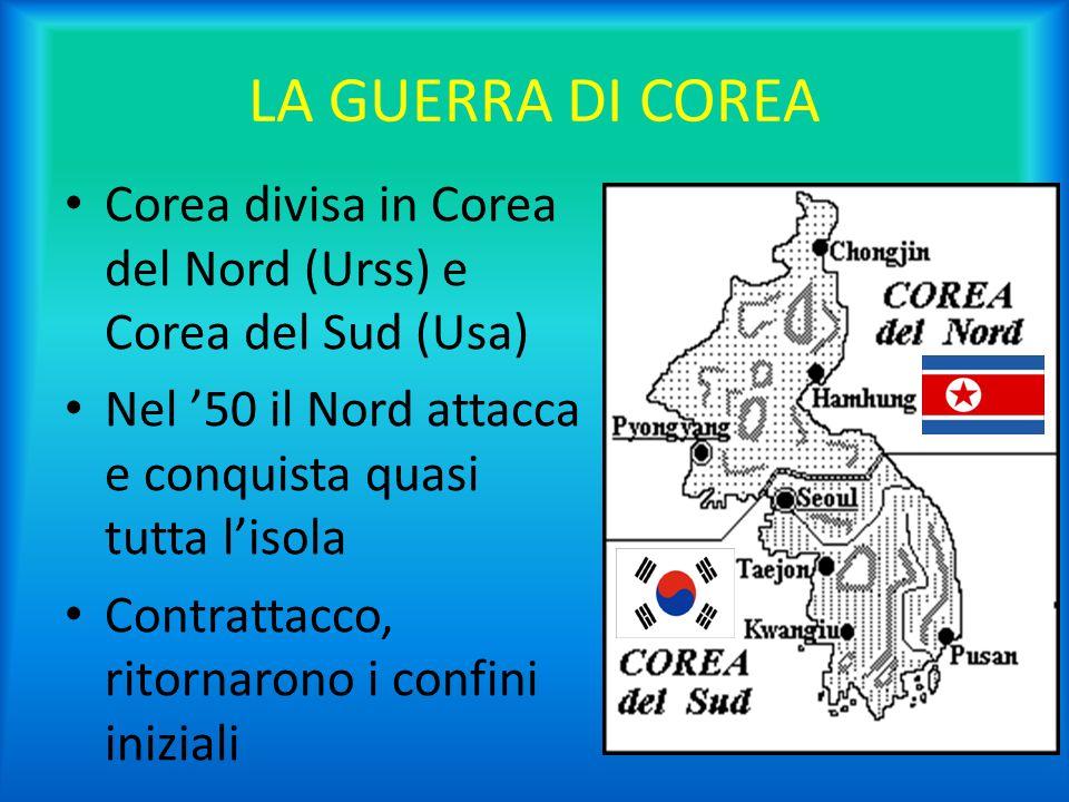 LA GUERRA DI COREA Corea divisa in Corea del Nord (Urss) e Corea del Sud (Usa) Nel '50 il Nord attacca e conquista quasi tutta l'isola Contrattacco, r