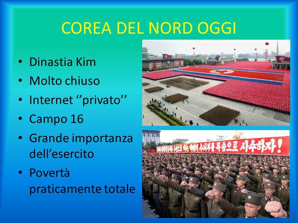 COREA DEL NORD OGGI Dinastia Kim Molto chiuso Internet ''privato'' Campo 16 Grande importanza dell'esercito Povertà praticamente totale