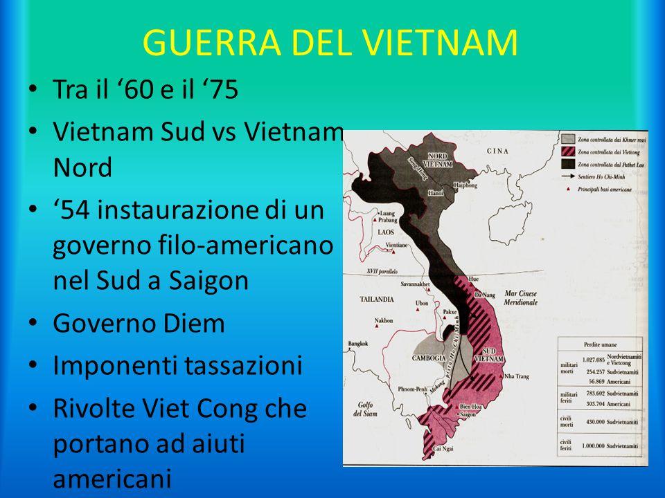 GUERRA DEL VIETNAM Tra il '60 e il '75 Vietnam Sud vs Vietnam Nord '54 instaurazione di un governo filo-americano nel Sud a Saigon Governo Diem Impone