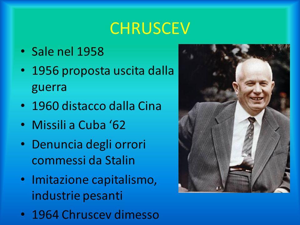CHRUSCEV Sale nel 1958 1956 proposta uscita dalla guerra 1960 distacco dalla Cina Missili a Cuba '62 Denuncia degli orrori commessi da Stalin Imitazio