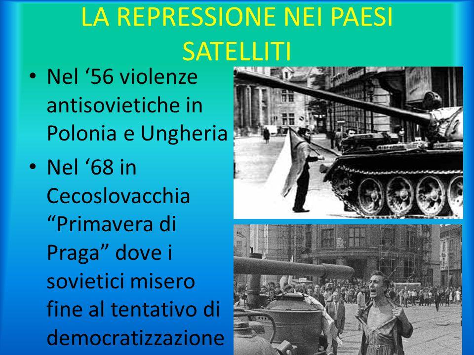 """LA REPRESSIONE NEI PAESI SATELLITI Nel '56 violenze antisovietiche in Polonia e Ungheria Nel '68 in Cecoslovacchia """"Primavera di Praga"""" dove i sovieti"""