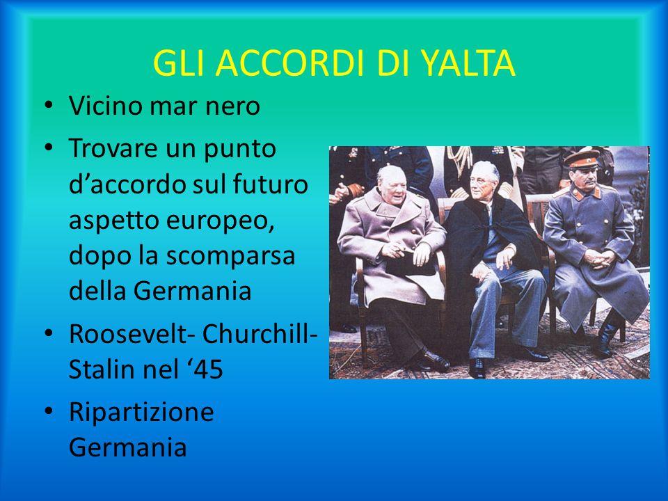 GLI ACCORDI DI YALTA Vicino mar nero Trovare un punto d'accordo sul futuro aspetto europeo, dopo la scomparsa della Germania Roosevelt- Churchill- Sta