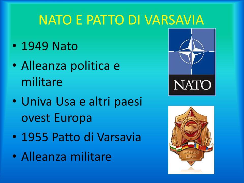NATO E PATTO DI VARSAVIA 1949 Nato Alleanza politica e militare Univa Usa e altri paesi ovest Europa 1955 Patto di Varsavia Alleanza militare