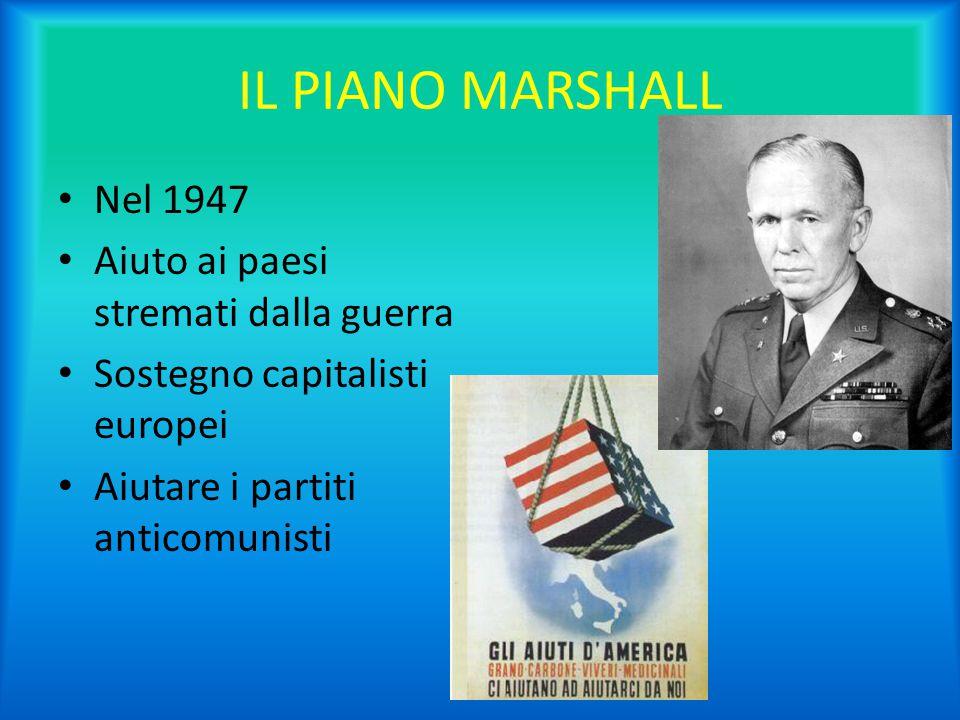 IL PIANO MARSHALL Nel 1947 Aiuto ai paesi stremati dalla guerra Sostegno capitalisti europei Aiutare i partiti anticomunisti