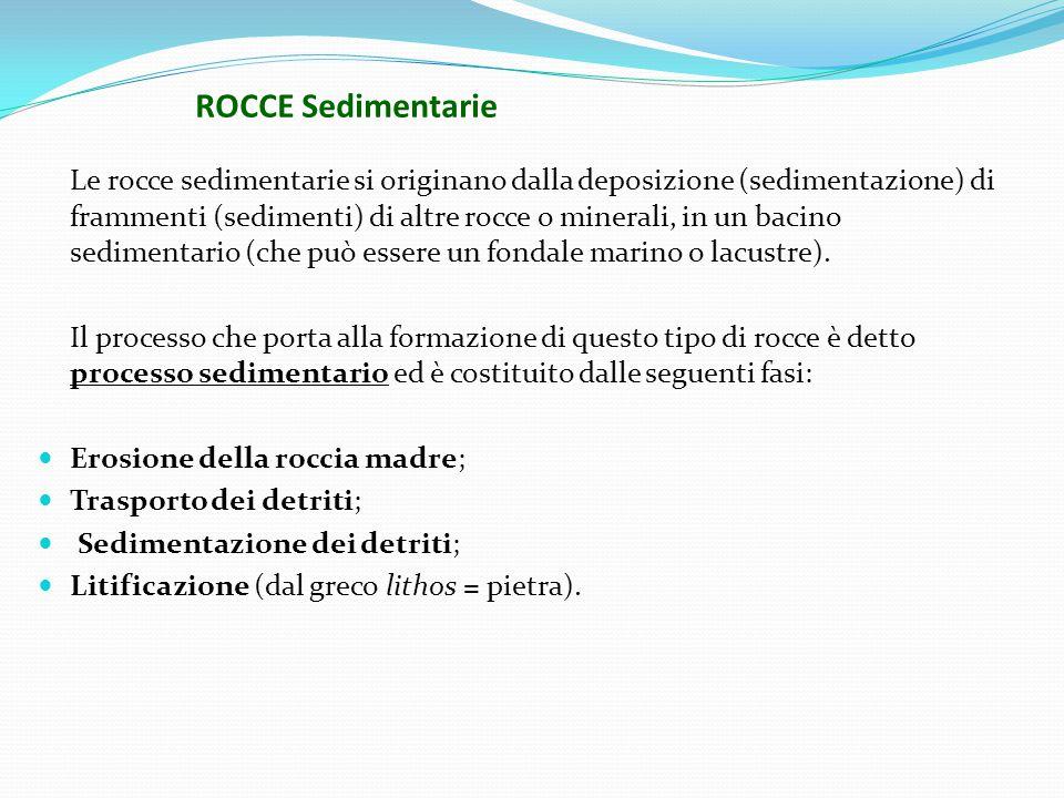 ROCCE Sedimentarie Le rocce sedimentarie si originano dalla deposizione (sedimentazione) di frammenti (sedimenti) di altre rocce o minerali, in un bacino sedimentario (che può essere un fondale marino o lacustre).