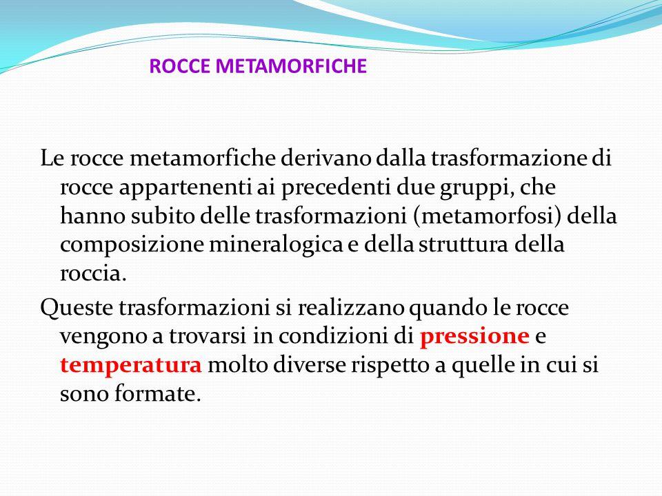 ROCCE METAMORFICHE Le rocce metamorfiche derivano dalla trasformazione di rocce appartenenti ai precedenti due gruppi, che hanno subito delle trasformazioni (metamorfosi) della composizione mineralogica e della struttura della roccia.