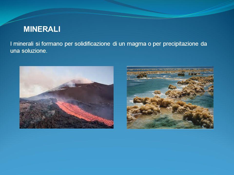 I minerali si formano per solidificazione di un magma o per precipitazione da una soluzione.