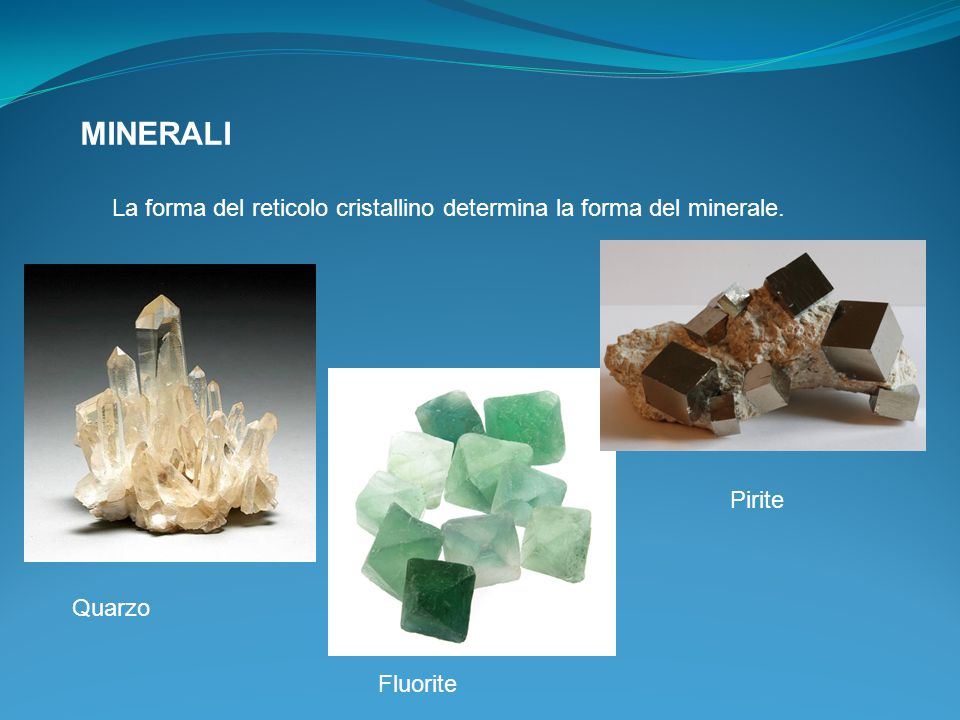 MINERALI La forma del reticolo cristallino determina la forma del minerale. Quarzo Pirite Fluorite