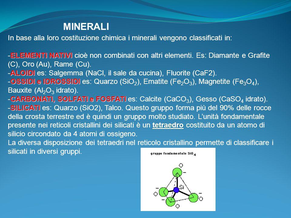 MINERALI In base alla loro costituzione chimica i minerali vengono classificati in: ELEMENTI NATIVI -ELEMENTI NATIVI cioè non combinati con altri elementi.