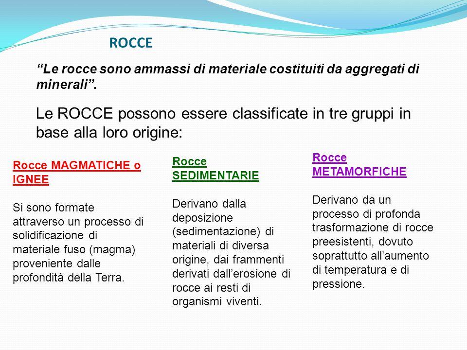 Le ROCCE possono essere classificate in tre gruppi in base alla loro origine: Le rocce sono ammassi di materiale costituiti da aggregati di minerali .