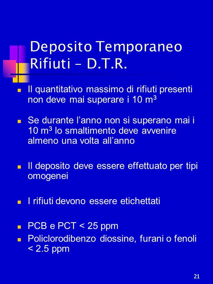 21 Deposito Temporaneo Rifiuti – D.T.R. Il quantitativo massimo di rifiuti presenti non deve mai superare i 10 m 3 Se durante l'anno non si superano m