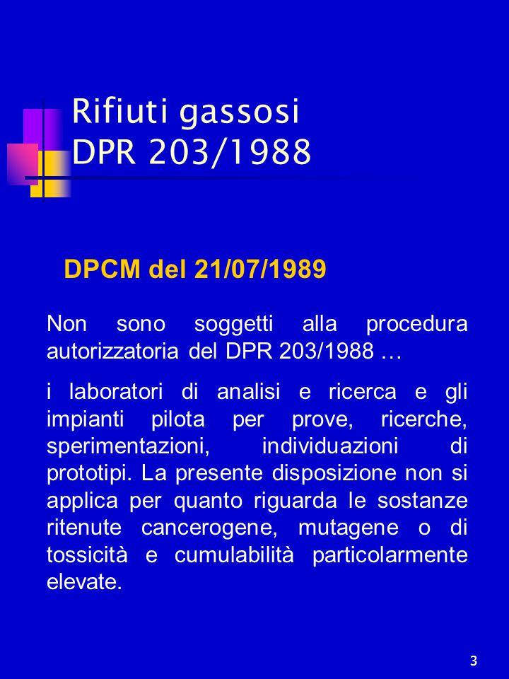 3 Rifiuti gassosi DPR 203/1988 DPCM del 21/07/1989 Non sono soggetti alla procedura autorizzatoria del DPR 203/1988 … i laboratori di analisi e ricerc