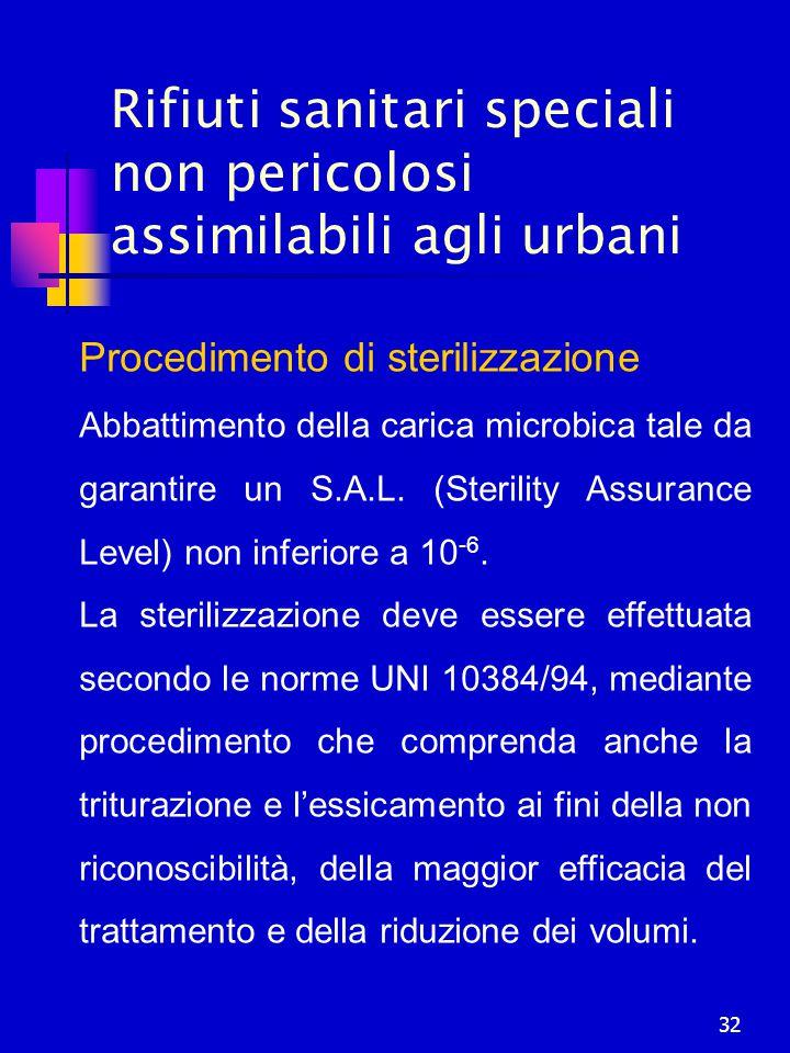 32 Rifiuti sanitari speciali non pericolosi assimilabili agli urbani Procedimento di sterilizzazione Abbattimento della carica microbica tale da garan