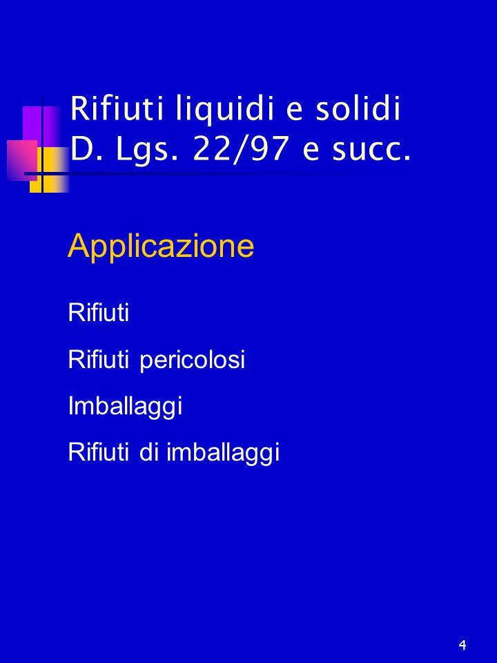 4 Rifiuti liquidi e solidi D. Lgs. 22/97 e succ. Applicazione Rifiuti Rifiuti pericolosi Imballaggi Rifiuti di imballaggi
