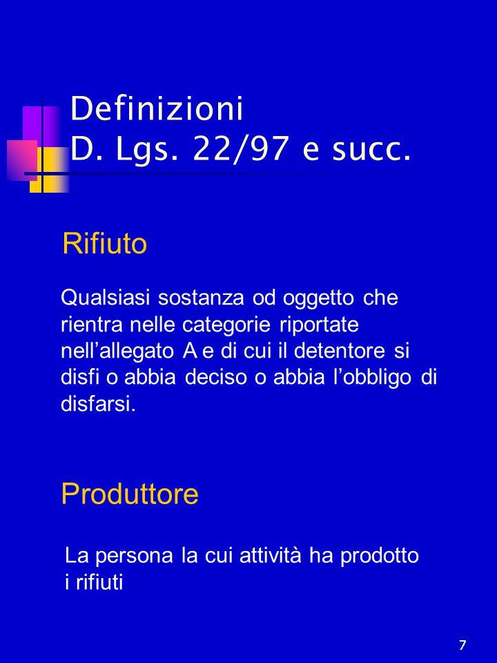 7 Definizioni D. Lgs. 22/97 e succ. Rifiuto Qualsiasi sostanza od oggetto che rientra nelle categorie riportate nell'allegato A e di cui il detentore
