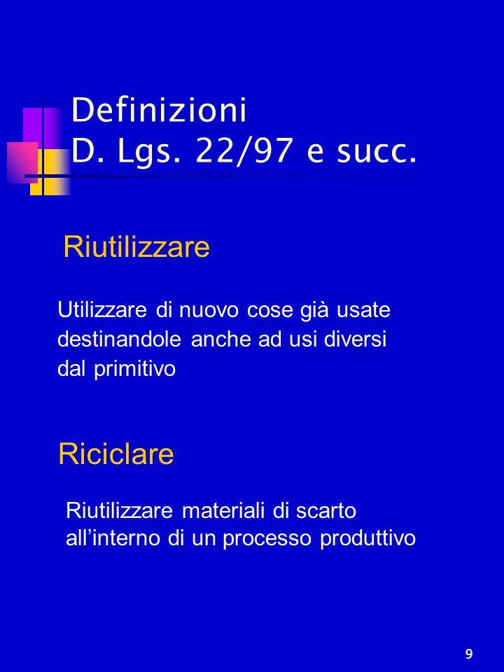 9 Definizioni D. Lgs. 22/97 e succ. Riciclare Riutilizzare materiali di scarto all'interno di un processo produttivo Riutilizzare Utilizzare di nuovo