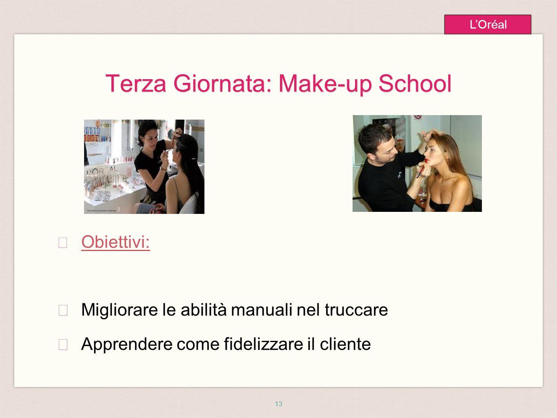 13 L'Oréal Terza Giornata: Make-up School ★ Obiettivi: ★ Migliorare le abilità manuali nel truccare ★ Apprendere come fidelizzare il cliente