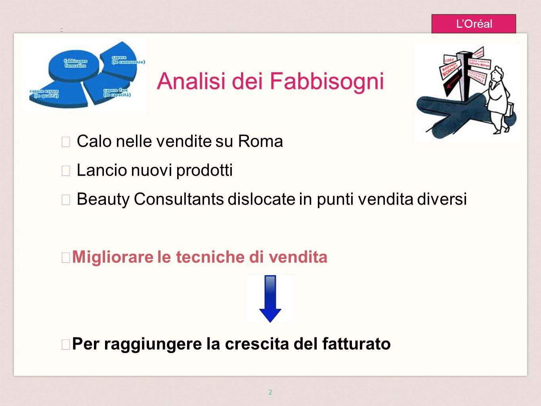 2 L'Oréal Analisi dei Fabbisogni ★ ★ Calo nelle vendite su Roma ★ Lancio nuovi prodotti ★ Beauty Consultants dislocate in punti vendita diversi ★ Migl